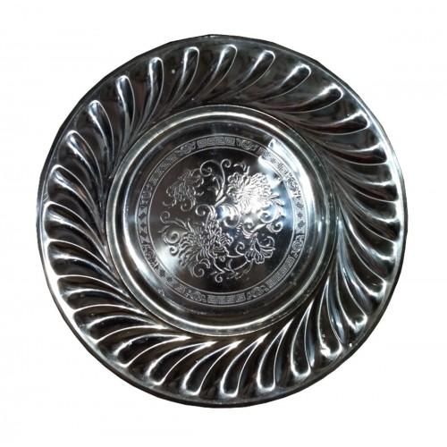 Lot De 2 Assiettes Plates En Inox - 39 cm - Inox