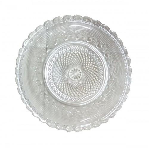 Lot 2 Plates Assiette En Cristale  30 Cm - Transparent