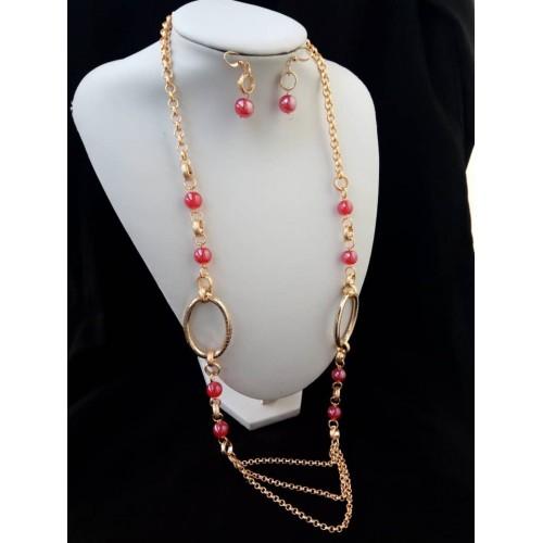 chaine en or plaqué et perle rouge