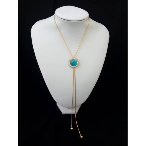 Chaine en or plaqué et perle bleu turqoise