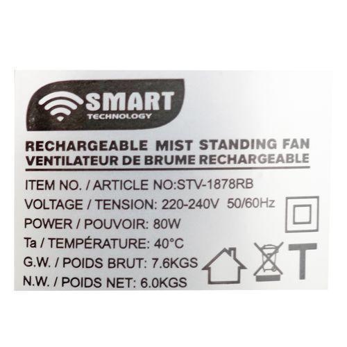 """Ventilateur de brume sur pieds 18"""" Rechargeable avec télécommande"""