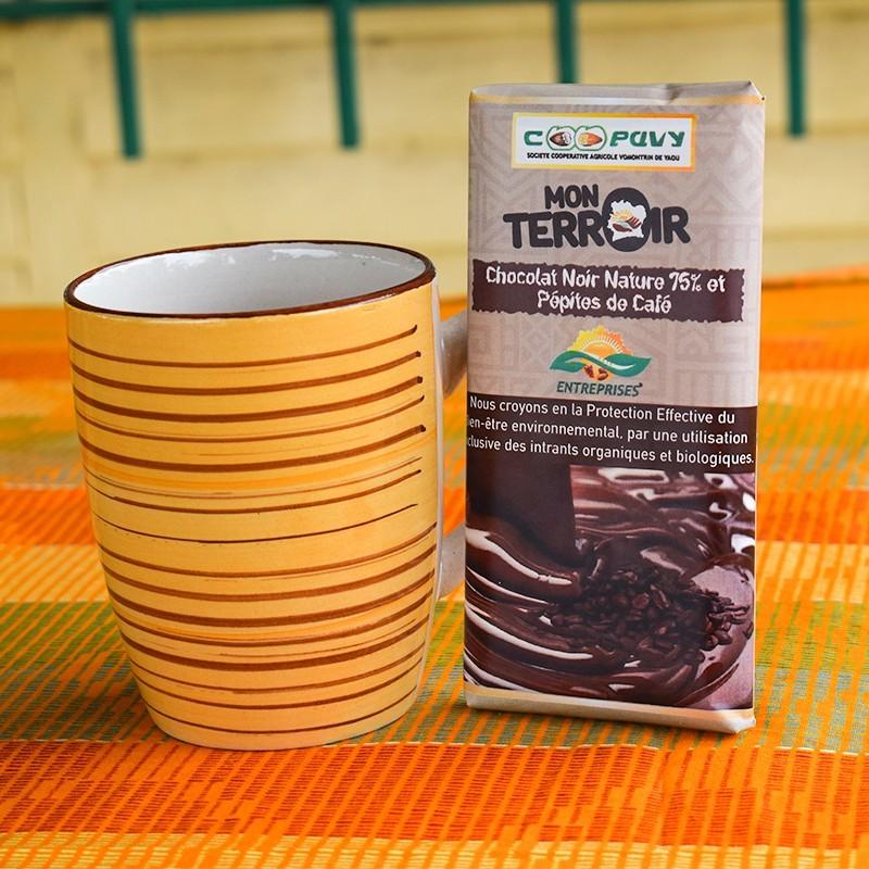 TABLETTE DE CHOCOLAT NOIR NATURE 75% ET PÉPITES DE CAFÉ