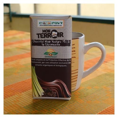CHOCOLAT NOIR NATURE 75% À LA CITRONNELLE 100G