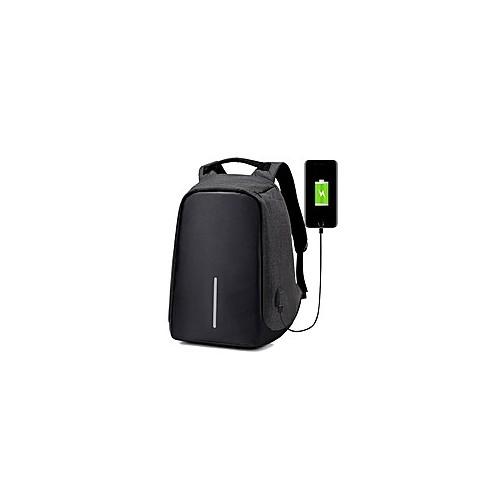 Sac à Dos Intelligent USB Antivol Résistant L'eau-Noir/Gris