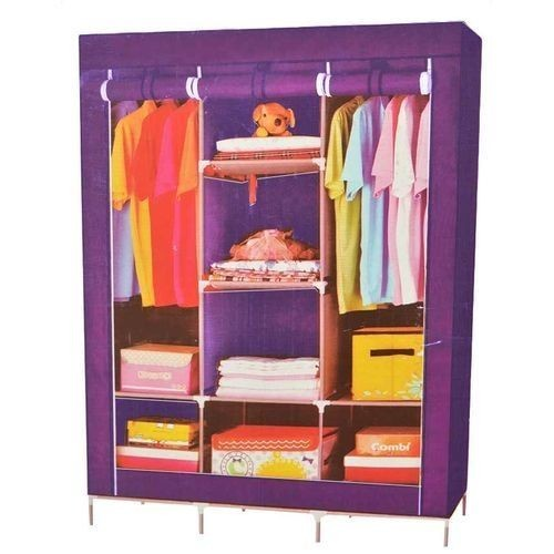Armoire Penderie Mobile+Housse 3 Battants -MULTICOLORE
