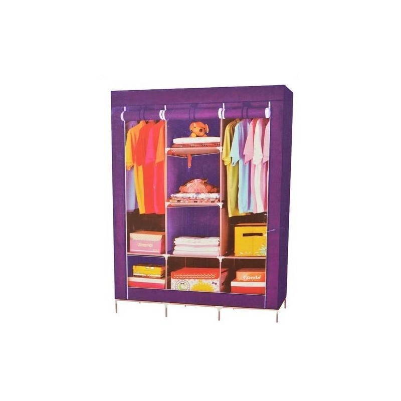 Armoire Penderie Mobile Housse 3 Battants Multicolore
