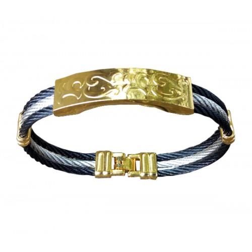 Bracelet Homme En Acier Et Or Plaqué
