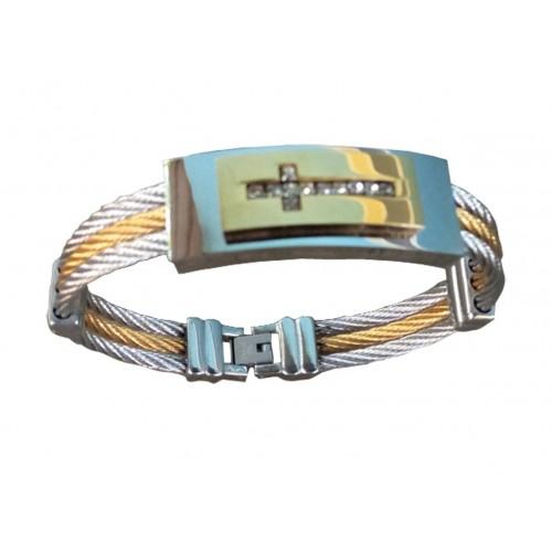 Un Beau Bracelet en acier et or plaqué